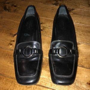 Coach Black Square Toe Adalia Leather Loafers 8.5B
